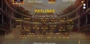 linee di pagamento della slot champions of rome